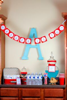 A Party Studio Helicopter Birthday Party, small banner with big letter backdrop