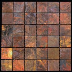Add a metallic accent to your home decor with this stunning copper wall tile. These waterproof square tiles feature a variety of smaller copper pieces for a unique mosaic effect.