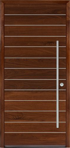 This is a flush walnut door with a metallic inlay and a brushed stainless door pull.  While this is an entry door, this door style is also available for interiors.
