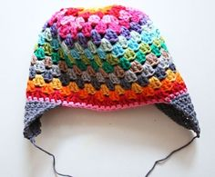 colorful beanie with earflaps.