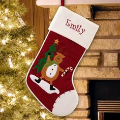 Reindeer with Candy Cane Christmas Stocking