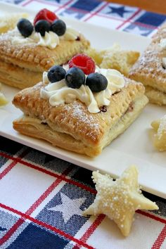 Recipe Girl®Patriotic Red White and Blue Pastries 4th Of July Desserts, Just Desserts, Dessert Recipes, Delicious Desserts, Patriotic Desserts, Recipes Dinner, Brunch Recipes, Best Pastry Recipe, Pastry Recipes