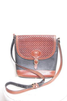 Beautiful Vintage Cross Body Authentic Bally Designer Purse with Woven Leather Flap