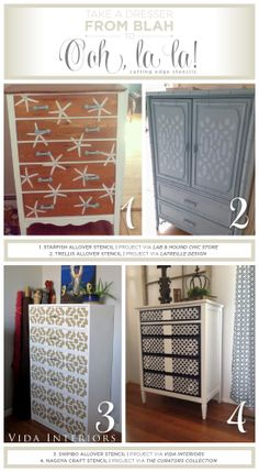 Cutting Edge Stencils shares painted and stenciled furniture ideas. http://www.cuttingedgestencils.com/wall-stencils-stencil-designs.html