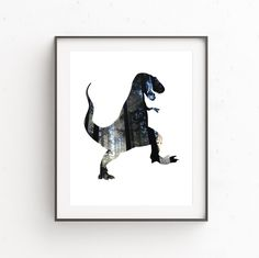 Dinosaur Printable, T-Rex Print, Printable Art, Art for Boys, Dinosaur Art, Dinosaur Decor, Forest Print, Trex Print, Dinosaur Print by OjuDesign on Etsy https://www.etsy.com/listing/246907941/dinosaur-printable-t-rex-print-printable