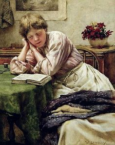 A Quiet Read (1880-1890). Walter Langley (English, 1852–1922). Oil on canvas.