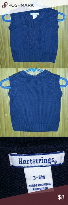 Navy Blue Vest by Hartstrings. Size 3-6 months. Hello Posh Community! This is an adorable Boys Vest by Hartstrings. This is a size 3-6 months. It's in great condition. Please look at photos. Thanks for looking. Hartstrings Shirts & Tops