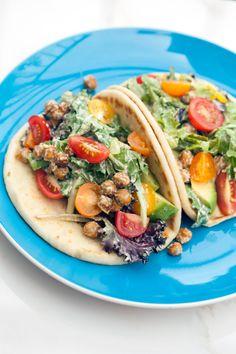 A crazy tasty vegan caesar dressing, crunchy spiced chickpeas, creamy avocado, and sweet tomatoes make for an incredible lunch option! | spachethespatula.com