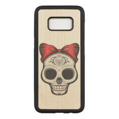 #Sugar Skull Illustration Carved Samsung Galaxy S8 Case - #Halloween happy halloween #festival #party #holiday