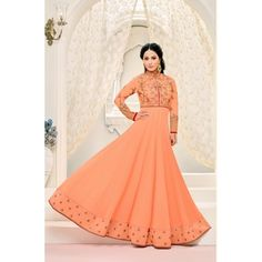 69d4baf7c0 Buy Craftsvilla Peach Color Georgette Embroidered Unstitched Anarkali Suit  online. ✯ 100% authentic products