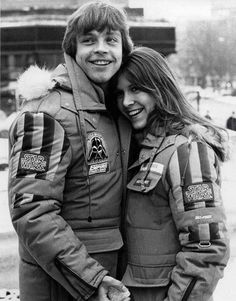 Mark Hamill and Carrie Fisher on the set of The Empire Strikes Back. OMG cutest thing EVER.