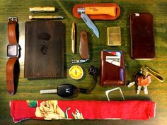 Leather Brass Wood  submitted by Matt Daniels  Fisher Space Pen Bullet Pen Raw Brass  Victorinox Swiss Army EvoWood 10 Swiss Army Knife  Zippo High Polish Brass Pocket Lighter  Burt's Bees Beeswax Lip Balm Tin 8.5 grams  Japanesse nickel fishhook  Leather Key Covers  Craft and Lore Port Wallet  Apple Watch 38mm Aluminum Case Sport with Black Sport Band  GranVela UltraTac K18 Flashlight  Apple Leather Case iPhone 6  Midori Brass Bullet Pencil Holder - Gold (japan import)  #8 Opinel Carbon…