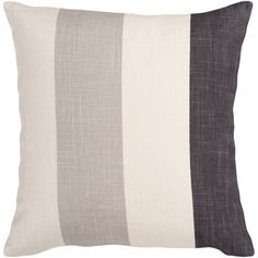 Lend a subtle pop of pattern to your living room seating group with this linen and art silk pillow, featuring a striped print in neutral tones.