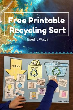 Free Recycling Sort Printable from Simply Kinder. Print this out to use as an anchor chart, a student activity, or for a center. Great for Earth Day in your preschool, kindergarten, and first grade classrooms. Recycling Games, Recycling Activities For Kids, Recycling For Kids, Sorting Activities, Science Activities, First Grade Science, Kindergarten Science, Free Kindergarten Worksheets, Preschool Centers