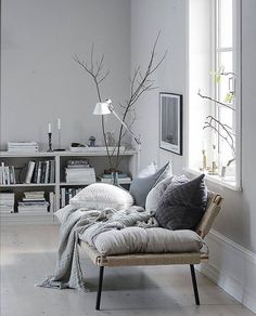 """l-e-a-b-o: """"Stellar greyish blue living room by @lenalidman85 - what a lovely combination with the @ikeasverige daybed from their former Sinnerlig collection. http://ift.tt/2nsU2It """""""