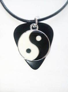 """Black Fender guitar pick necklace with yin yang charm size 17"""" to 19"""" xmas gift #12345market #Charm Guitar Pick Necklace, Yin Yang, Music Lovers, Xmas Gifts, Charmed, Personalized Items, Ebay, Black, Black People"""