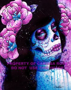 Items similar to Day of the Dead Art Print inch Hand Signed Poster - Blue and Pink Rose Girl Tattoo Colorful Lowbrow Portrait Sugar Skull Girl Decor on Etsy Artwork Prints, Canvas Art Prints, Skull Artwork, Fun Prints, Sugar Skull Girl, Sugar Skulls, Usa Tattoo, Chicago Artists, Alternative Art