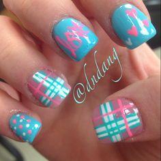 Pink and blue nail art Love@dndang