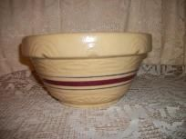 RANSBOTTOM ROSEVILLE POTTERY CROCK BOWL SALT GLAZE #10 AND THE NUMBERS 305? NOT SURE HARD TO READ. TEXTURED SUNRISE DESIGNS LT. TAN WITH RED/BLUE STRIPES, HAS THE WORDS ON ONE SIDE, PAT'S POPCORN WHICH I BELIEVE WAS ADDED LATER IN THE YEARS. NO CR...