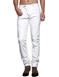 adcb8f7f248f Idopy Men`s Slim Fit Party Performance Biker Faux Leather Jeans Pants White  34