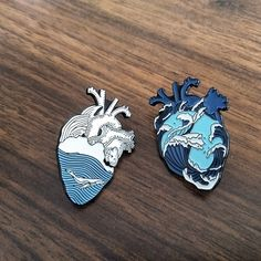 Heart Wave, Love Heart, Ocean Heart, Bag Pins, Jacket Pins, Cool Pins, Pin And Patches, Bijoux Diy, Tatoo