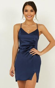 Saw The Light Dress In Navy Satin Produced - Homecoming Dresses Semi Dresses, Cheap Formal Dresses, Cheap Party Dresses, Elegant Dresses, Pretty Dresses, Casual Dresses, Wedding Dresses, Awesome Dresses, Short Tight Dresses