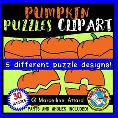 Pumpkin puzzles clipart: self-correcting puzzle templates: fall clipart