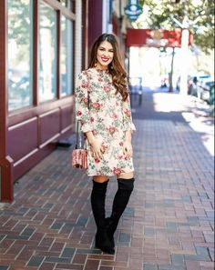 Fall Floral Dress.Fl