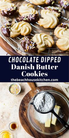 Light, crisp and super delicious, these Chocolate Dipped Danish Butter Cookies are a decadent family favorite!