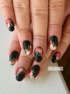 Matte rose nail art I did after seeing a lovely floral kimono. I thought the roses made for a nice transition into the valentine nail art season! By LookAtHerNails