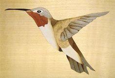 Marquetry hummingbird design