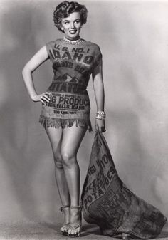 Love those Idaho potatoes, especially those grown in the upper Snake River Valley! And here's a classic photo of Marilyn Monroe wearing an Idaho potato sack!
