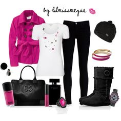 Black and Fuscia by lilmissmegan on polyvore