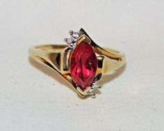 Designer 10K Yellow Gold .79TCW  Red Natural Garnet Ring w Diamond Accents Sz 7 #RG #SolitairewithAccents