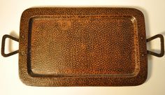 Marked Benedict Studio heavy hammered copper Arts and Crafts period tray, original patina intact. c1910