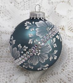 Steel Blue Hand Painted White MUD Textured Floral Design Ornament with Bling 206 Painted Christmas Ornaments, Felt Christmas Decorations, Hand Painted Ornaments, Christmas Mantels, Beaded Ornaments, Diy Christmas Ornaments, Homemade Christmas, Brush Embroidery, Lace Painting