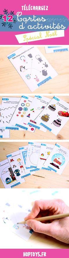 Téléchargez les cartes d'activités de Noël12 cartes d'activités sous forme de jeux ludiques : chercher l'intrus, labyrinthe, coloriage… à télécharger. Petits moments de bonheur à partager en famille en attendant Noël.