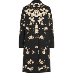 Givenchy Coat in floral-print cotton-canvas ($1,026) ❤ liked on Polyvore featuring outerwear, coats, coats & jackets, jackets, givenchy, black, floral print coat, floral coat, givenchy coat and patterned coat