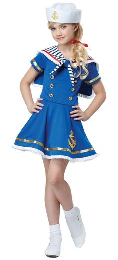 California Costumes Sunny Sailor Girl Costume Blue/White Large *** You could learn more details at the web link of the picture. (This is an affiliate link). Sailor Costumes, Fancy Costumes, Girl Costumes, Halloween Costumes For Kids, Children Costumes, Halloween Ideas, Costume Shop, Costume Dress, California Costumes