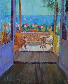 Vue sur la Mer by Alice Williams French Paintings, Artist At Work, Provence, Porch, Alice, Patio, Windows, Landscape, Nature