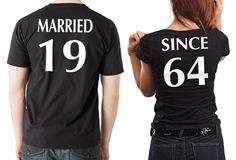 Anniversary T-shirts Couple Tees MARRIED SINCE Anniversary gift for couple CUSTOMIZABLE Year by MilkyWayTshirts on Etsy https://www.etsy.com/listing/199899756/anniversary-t-shirts-couple-tees-married