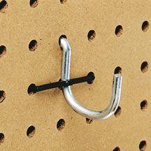 garage storage pegboard hooks.  Using zip ties to keep hooks on the peg board.