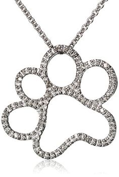 """Silver and Diamond Dog Paw Pendant Necklace (1/20 cttw), 18"""" Amazon Curated Collection http://www.amazon.com/dp/B004I5BUY8/ref=cm_sw_r_pi_dp_ij0.ub1XWJPTN"""