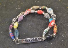 PEACE Upcycled Paper Bead STRETCH Bracelet Multi by ChezChani