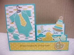 """Something for Baby Side Step Card by Donna Wicks, TUTORIAL: Find the tutorial on Splitcoast Stampers. Search for """"Side Step Card"""" under their Tutorials tab. :)  Thanks for looking!  Stamps: Something for Baby, Sweetly Said and Curvy Verses (both ret.) Paper: Coastal Cabana, Whisper White, Pistachio Pudding (stars), DSP Lullaby Ink: Coastal Cabana, Hello Honey, Pistachio Pudding, Baked Brown Sugar, Memento Black sentiments (Markers also) Accessories: Paper Trimmer, Framelits Baby's First…"""