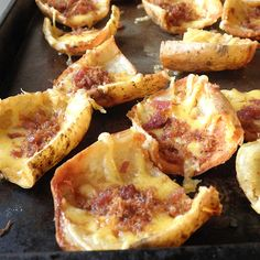 Baked Cheesy Potato skins  http://thegardeningcook.com/potato-recipes/