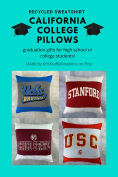 Pillows made from recycled California colleges – Gift Ideas College Student Gifts, College Students, College Packing, Dorm Decorations, Colleges, Graduation Gifts, Recycling, My Etsy Shop, Etsy Seller