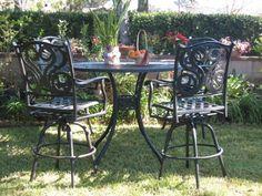 "CBM Outdoor Patio Furniture 5 Piece Aluminum 42"" Bar Table Set with 4 Swivel Chairs Cbm1290 Bar Stool Table Set http://www.amazon.com/dp/B004QKJIC6/ref=cm_sw_r_pi_dp_Ng.5tb0Y5JS6T"