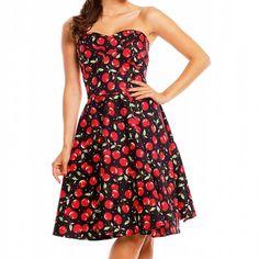 Swing Melissa strapless jurk met kersen print zwart/rood - Vintage 50's Rockabilly retro