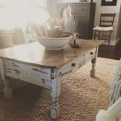 Good morning! I thought I would join in and play along with #myfarmhousefix.  I got this table a loooong time ago. It was once the bottom half of a Hoosier type cupboard. When I found it, it had already been cut down to coffee table height. I gave it a dose of #missmustardseedpaint (my first experience with milk paint.  Hooked ever since ) and this little table came out so chippy farmhouse perfect! It's one of my favorite pieces.  Have a blessed day friends.